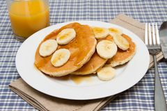 Stack of homemade pancakes with banana Royalty Free Stock Image