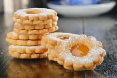 Stack of homemade sweet biscuit cookie Royalty Free Stock Images