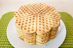Stack of homemade waffles in form of heart Royalty Free Stock Photography