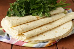 Stack of homemade whole wheat flour tortillas Stock Images