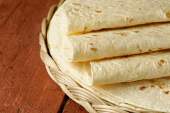 Stack of homemade whole wheat flour tortillas Stock Photos