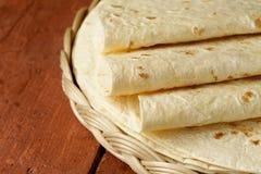 Stack of homemade whole wheat flour tortillas Stock Photos