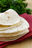 Stack of homemade whole wheat flour tortillas Royalty Free Stock Photo