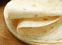 Stack of homemade whole wheat flour tortillas Stock Image