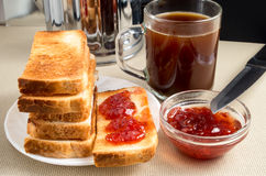 Stack of hot fried slices of bread for breakfast Royalty Free Stock Image