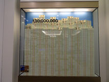 Stack of Hundred dollar bills in glass display case equally 30 m Royalty Free Stock Photos