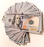 Stack of hundred dollars bills Royalty Free Stock Photography