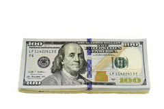 Stack of Hundred Dollars Bills. Close-up done on white background Stock Photography