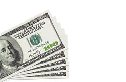 Stack of a hundred dollars bills. Isolated on white Stock Image