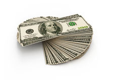 Stack of hundred dollars Stock Photos