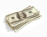 Stack of hundred dollars. Isolated on white Royalty Free Stock Photo