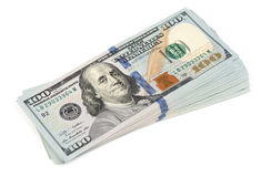 Stack of hundred dollars Royalty Free Stock Photo