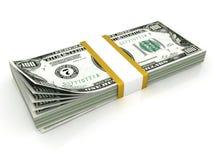 Stack of hundreds dollars. Isolated on white background Royalty Free Stock Photography