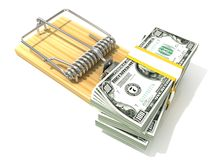 Stack of hundreds dollars, like bait, in wooden mousetrap. 3D rendering illustration, isolated on white background Royalty Free Stock Photo