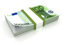 Stack of hundreds euros Royalty Free Stock Photography