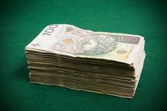 Stack of hundret zloty bills Stock Photo