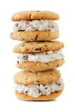 Stack of ice cream sandwiches isolated on white. Stack of ice cream sandwiches with homemade cookies isolated on a white background Stock Photography