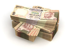 Stack of Indian Rupee. (isolated with clipping path Stock Photos