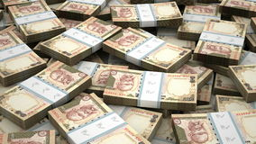 Stack of Indian Rupee stock video footage