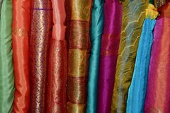 A stack of Indian Sarees stock photo