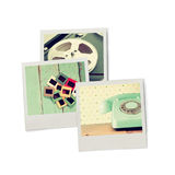 Stack of Instant photos, isolated on white background. Stock Photography