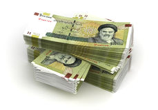 Stack of Iranian Rial. (isolated with clipping path Royalty Free Stock Photo