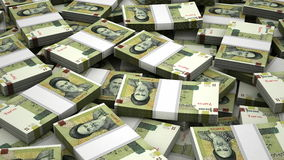 Stack of Iranian Rial stock video