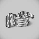 Stack of iron coins. Coins with a dollar sign for your design Stock Images