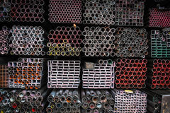 Stack of iron pipes Royalty Free Stock Photography