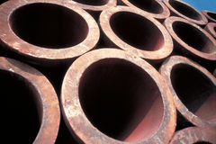 Stack of iron tubes Royalty Free Stock Image