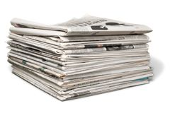 Stack of Newspapers. Stack isolated newspapers knowledge documentation daily news daily newspapers Stock Photo