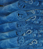 Stack of jeans close-up Stock Photos