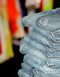 Stack of jeans close-up Stock Image