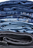 Stack of jeans closeup Royalty Free Stock Image