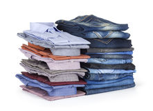 Stack Jeans and  dress hirts Royalty Free Stock Image