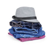Stack of jeans with a hat Stock Photography