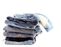 Stack of  jeans isolate Stock Images