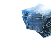 Stack of jeans trousers Royalty Free Stock Image