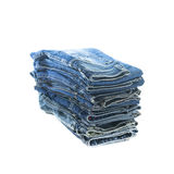 Stack of jeans trousers Stock Images