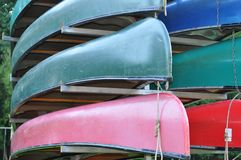 Stack of Kayaks Royalty Free Stock Photography