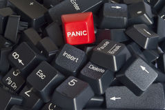Stack of keyboard keys with red panic button. Close-up on a stack of black computer keyboard keys with red panic button Stock Photography