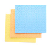 Stack of kitchen cleaning napkin rags over white isolated background Stock Photo