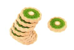 Stack of kiwi biscuits royalty free stock photography