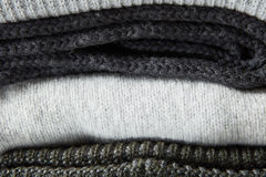 Stack of knitted clothes Royalty Free Stock Photo