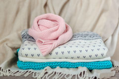 Stack of knitted sweaters Royalty Free Stock Image