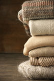 Stack of knitted sweaters Stock Photography