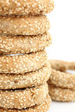 Stack of koulouri - traditional Greek bread Royalty Free Stock Photography