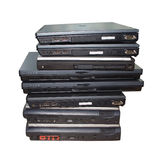 Stack of laptop computers isolated Stock Photo