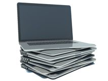Stack of Laptop on white  background Stock Images
