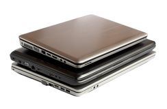 Stack of laptops Stock Photo